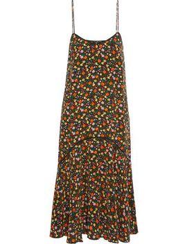 Floral Print Silk Crepe De Chine Midi Dress by Ganni