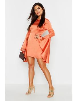 Satin Ruched Flared Sleeve Bodycon Dress by Boohoo