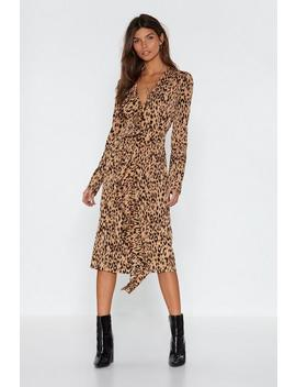 Leopard Meow Ment Ruffle Midi Dress by Nasty Gal