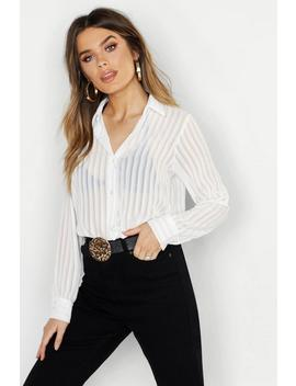 Woven Burnt Out Stripe Shirt by Boohoo