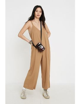 Uo Marta Tan Button Side Jumpsuit by Urban Outfitters
