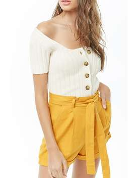 Belted Linen Blend Paperbag Shorts by Forever 21