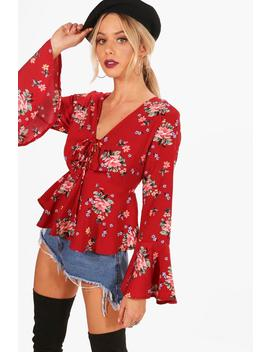 Printed Lace Up Flare Sleeve Blouse by Boohoo