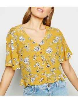 Yellow Floral Button Up Frill Trim Shirt by New Look