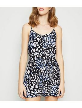 Black Leopard Print Tie Waist Playsuit by New Look