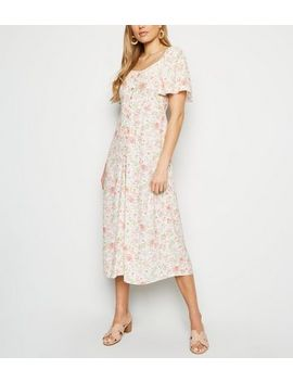 White Floral Button Up Midi Milkmaid Dress by New Look