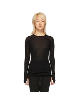 Black Rib Crewneck Long Sleeve T Shirt by Boris Bidjan Saberi