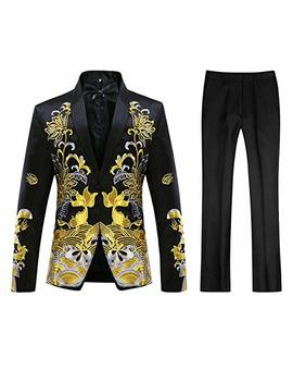 Mens Floral Sequin Embroidered Dress 2 Piece Suit Slim Fit Blazer Jacket & Pant by Cloudstyle