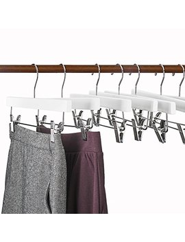 "House Day Natural Wood Hangers 14"" Wood Bottom Hangers With Clips   25pcs Wooden Pant Skirt Hangers (Skirt Hanger) by House Day"