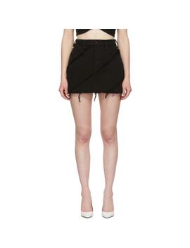 Black Denim Diagonal Bite Miniskirt by Alexander Wang