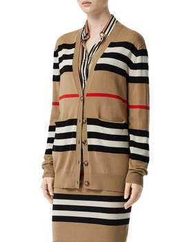 Scioto Icon Stripe Merino Wool Cardigan by Burberry