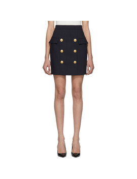 Navy Wool Double Breasted Miniskirt by Balmain