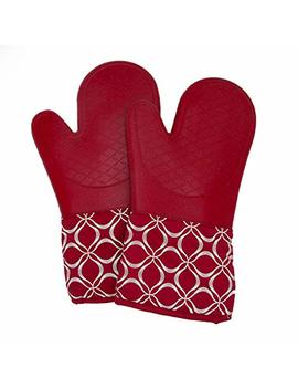 Silicone Oven Mitts With Cotton Lining, High Heat Resistant Kitchen Gloves, Non Slip Potholder (1 Pair) by Silicone