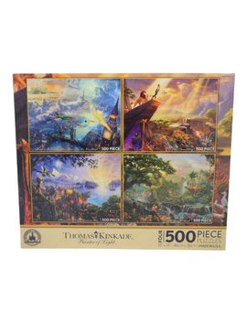 Disney Thomas Kinkade Set Of 4 500 Piece Puzzles Puzzle Lion King Pinocchio Peter Pan Jungle Book by Disney