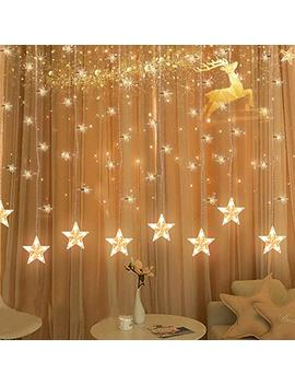 Tofu Star Curtain String Light, 100 Led Window Curtain Lights Plug In Curtain String Lights With 10 Stars 8 Flashing Modes Decoration For Wedding, Bedroom,Birthday (Warm White) by Tofu