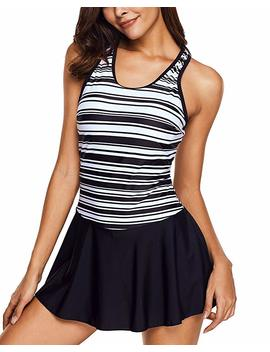 Tempt Me Women One Piece Vintage Striped Racerback Swimdress Crew Neck Skirt Swimsuit by Tempt Me