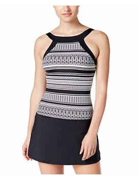Jag Womens Geometric Print High Neck Swimdress Black M by Jag