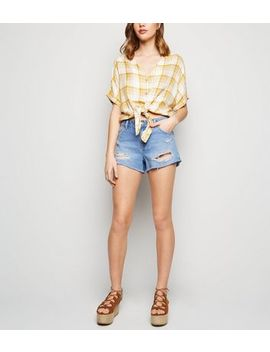 Bright Blue Ripped Denim Shorts by New Look