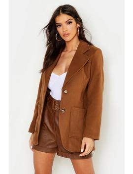 Double Pocket Wool Look Blazer Coat by Boohoo