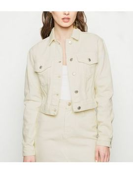 Off White Button Front Crop Denim Jacket by New Look