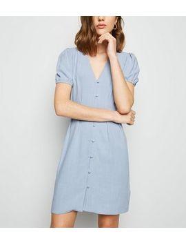 Blue Linen Look Button Up Tea Dress by New Look