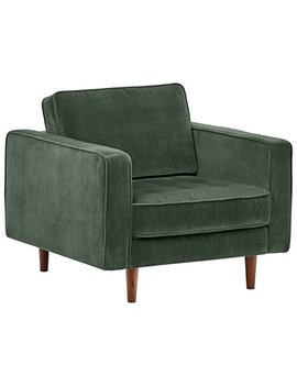 "Rivet Aiden Tufted Mid Century Velvet Chair, 35.4""W, Hunter Green by Rivet"