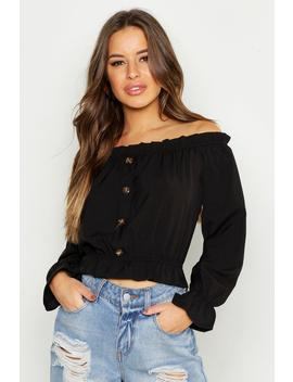 Petite Off The Shoulder Button Through Top by Boohoo