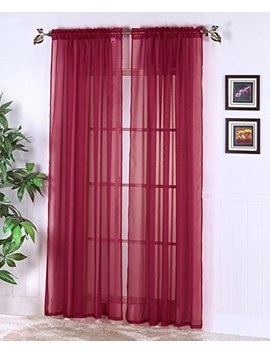 "Luxury Discounts 2 Piece Solid Elegant Sheer Curtains Fully Stitched Panels Window Treatment Drape (54"" X 108"", Burgundy) by Luxury Discounts"