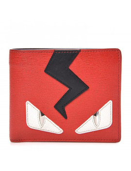 Fendi Vitello Elite Monster Eyes Wallet Red White Black by Fendi