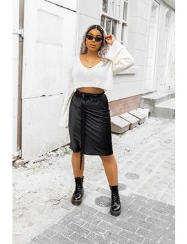 Black Satin High Waist Floaty Midi Skirt   Dasha by Rebellious Fashion
