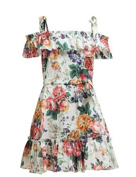 Allia Floral Print Tie Strap Linen Dress by Zimmermann