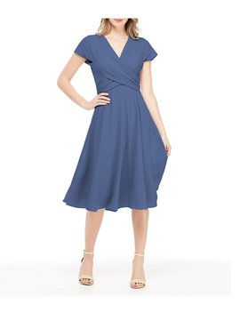 Seraphina Tie Back Cross Front Crepe Midi Dress by Gal Meets Glam Collection