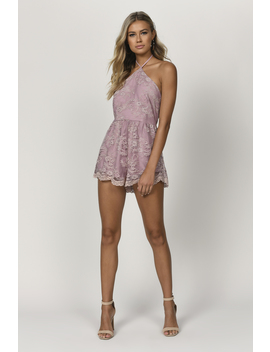 Two Faced Wine Lace Halter Romper by Tobi