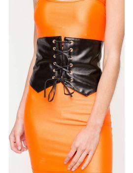 Sandra Split Bottom Lace Up Stretch Corset Belt by A'gaci