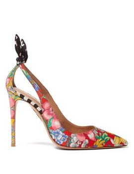 X Racil Deneuve Floral Print Twill Pumps by Aquazzura
