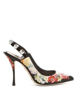 Floral Print Crystal Embellished Pumps by Dolce & Gabbana