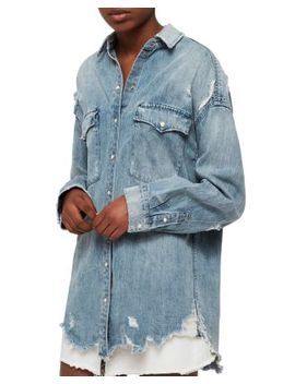 Tyla Distressed Denim Western Shirt by Allsaints