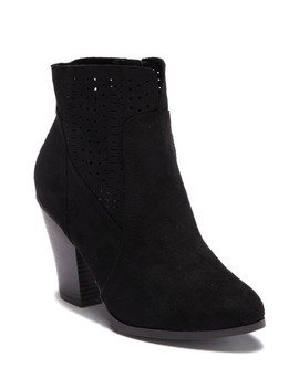 Danielle Perforated Stacked Heel Ankle Bootie by Wild Diva Lounge