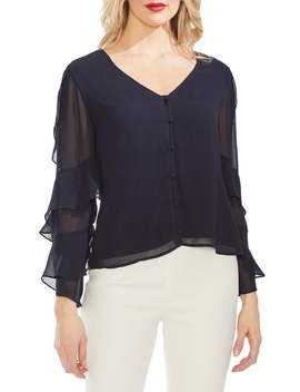 Tiered Sleeve Button Chiffon Top by Vince Camuto