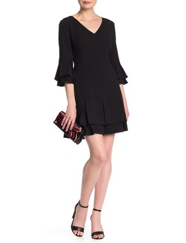V Neck Layered Bell Sleeve Dress by Laundry By Shelli Segal
