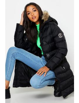 Tall Toggle Front Faaux Fur Trim Hooded Padded Coat by Boohoo