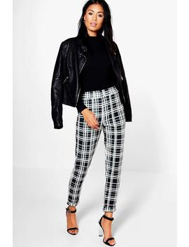Monochrome Dogtooth Skinny Stretch Pants by Boohoo