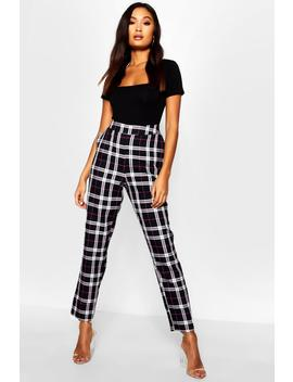 Woven Tartan Check Slim Fit Pants by Boohoo