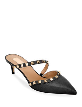 Rockstud Leather Kitten Heel Mules by Valentino Garavani