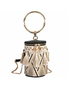 Tassels Woven Bucket Bag, Crossbody Bag For Women, Fashion Handlebag And Purses, Bag With Metal Chain Strap, Travel, Shopping by A Goodlife