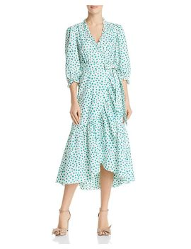 Emerald Ruffled Floral Wrap Dress by Rebecca Taylor