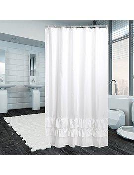 Avershine Ruffle Polyester Fabric Shower Curtain With Hooks Waterproof , 72x72 White by Avershine