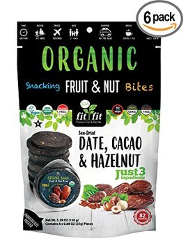 Fit Fit Bites   Date, Cacao & Hazelnut Organic Fruit & Nut Bites   Just 3 Ingredients   6 Discs Per Bag X Pack Of 6 = Total 36 Discs by Wild & Raw