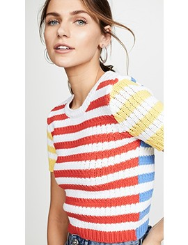Ciara Short Sleeve Cropped Cable Sweater by Alice + Olivia