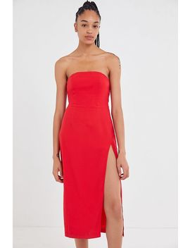 Uo Linen Strapless Midi Dress by Urban Outfitters